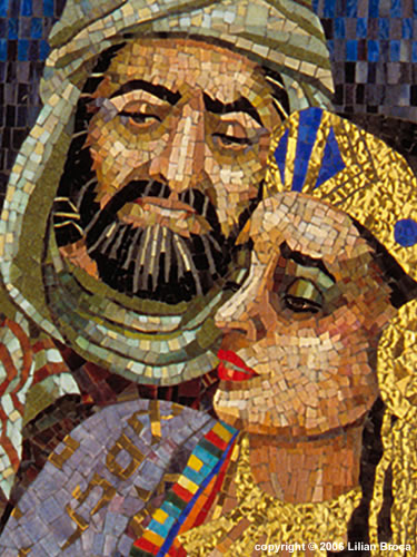 Mosaic Portrait - Lilian Broca - Queen Esther with Mordechai