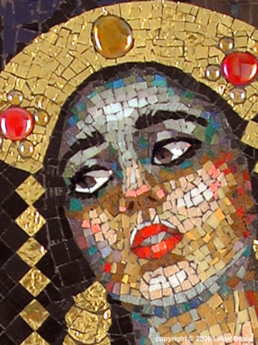 Queen Esther Holding Evidence of Haman's Guilt - mosaic portrait - Lilian Broca