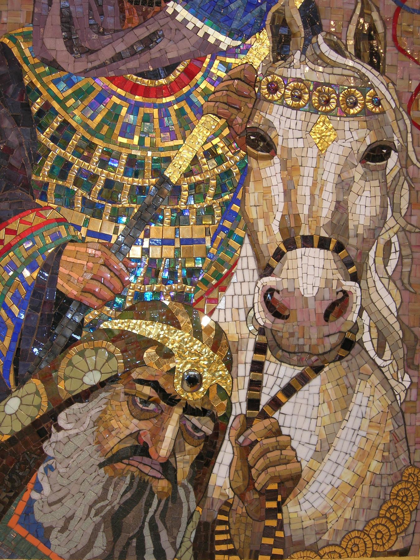 ... Leading Mordechai on Royal Horse - mosaic detail 5 - Lilian Broca