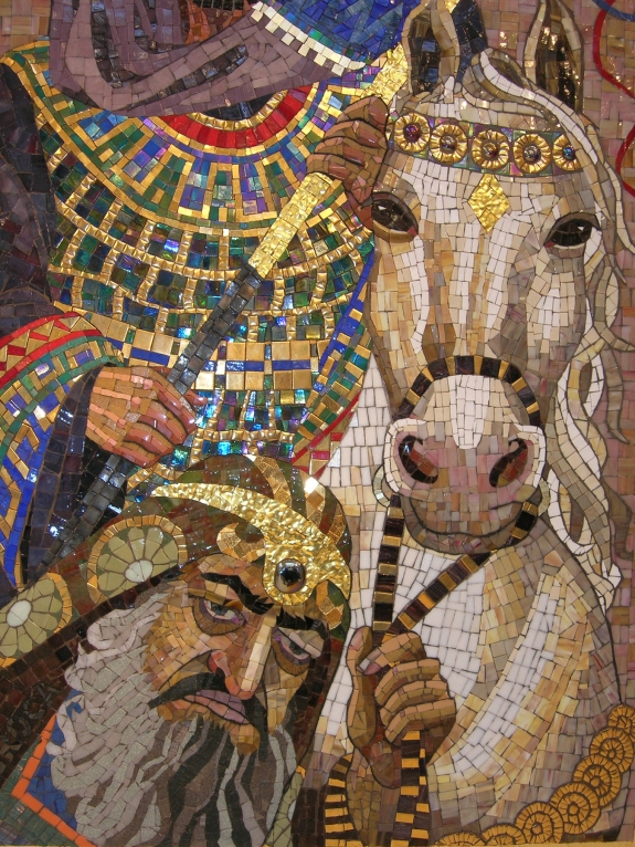 Haman Leading Mordechai on Royal Horse - mosaic detail 5 - Lilian Broca