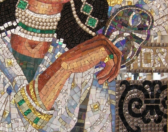 Queen  Esther Revealing Her True Identity - mosaic detail 2 - Lilian Broca