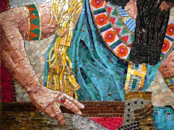 Queen Esther Seeking Permission to Speak - mosaic detail 9 - Lilian Broca