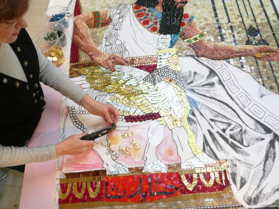 Queen Esther Seeking Permission to speak in Progress - mosaic detail 9 - Lilian Broca