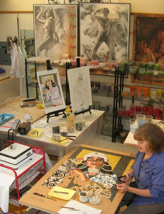 Lilian Broca in her art studio working on last mosaic